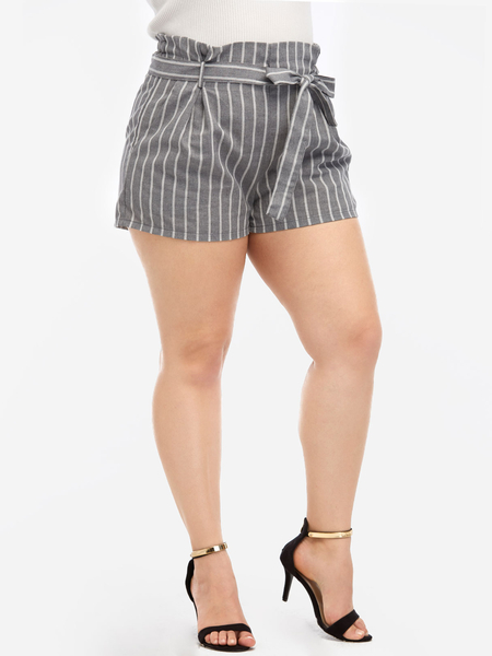 Plus Size Grey Stripe Pattern Self-Tie Shorts