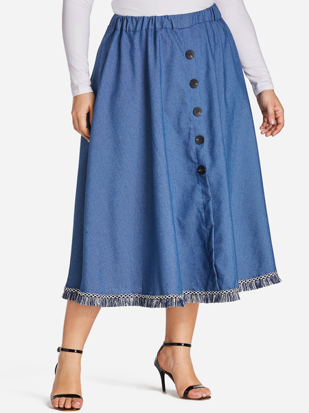 Plus Size Blue Button Front Tassel Hem Denim Skirt
