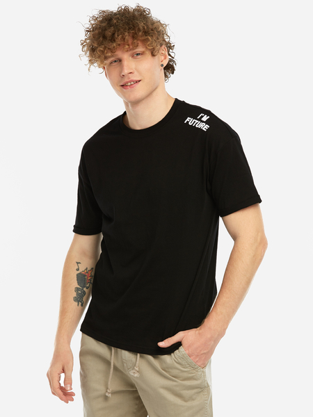 Black Fashion Daily Shoulder Letter Embroidered Crew Neck Short Sleeve Men's T-Shirt