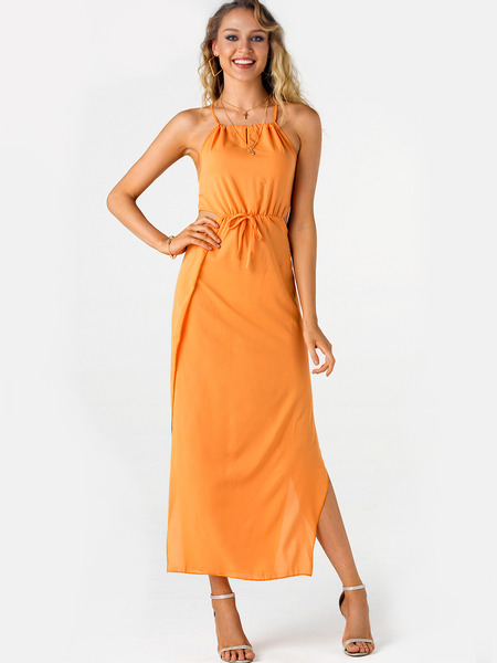 Orange Backless Halter Slit Hem Dress