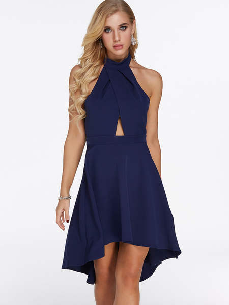 Dark Blue Backless Design Halter Sleeveless High-low Hem Dress
