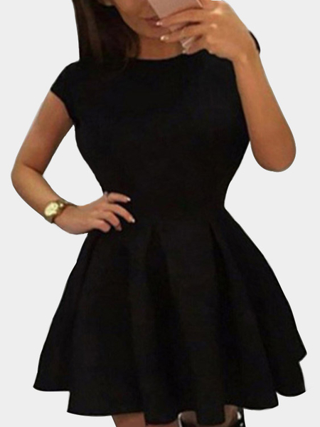 Black Tight-waist Open Back Mini Dress