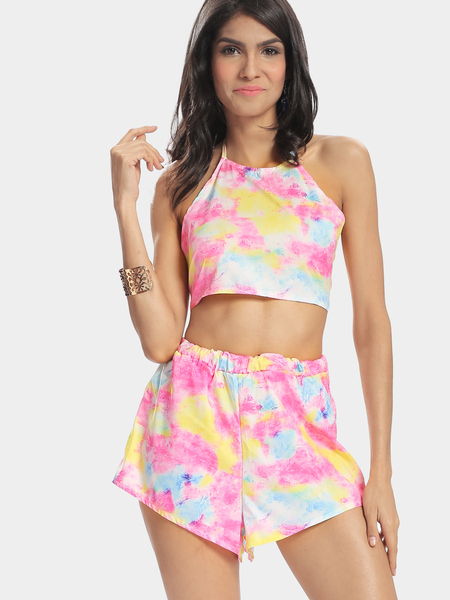 Rainbow Printing Halter Cropped Top & Mini Skirt Co-ord