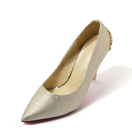 Light Gold Wedding Glitter Design Stiletto Solid Color Pumps