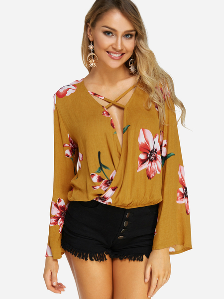 Crossed Front Random Floral Print V-neck Long Sleeves Blouse