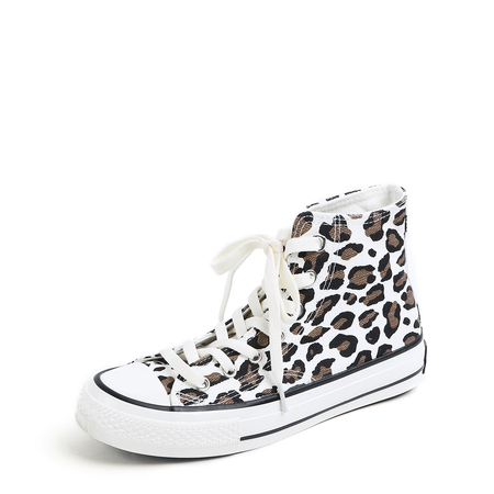 White Lace-up Leopard Pattern Canvas Boots