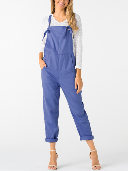 Blue Square Neck Sleeveless Overall Outfits