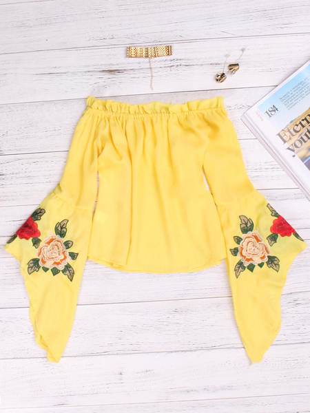 Yellow Embroidered Off The Shoulder Bell Sleeves Blouses