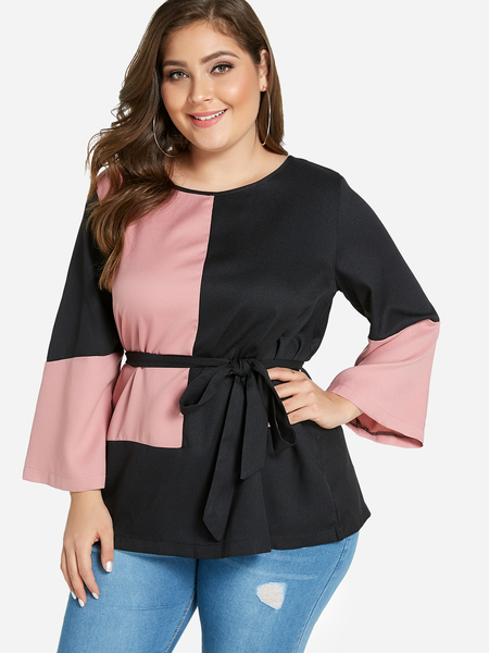 Plus Size Color Block Bell Sleeves Self-Tie Blouse