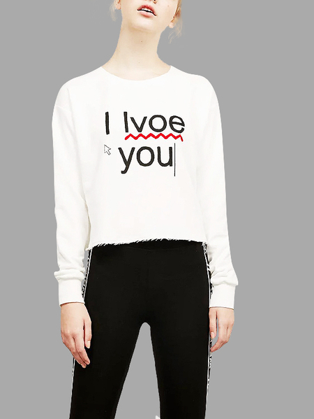 White Casual Letter Pattern Long Sleeves Sweatshirt