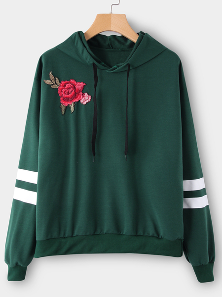 Green Embroidered Pullover Sports Hoodies