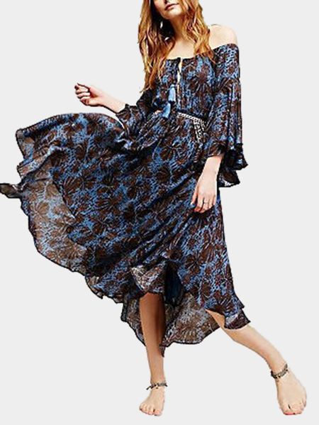 Bohemia Off Shoulder Random Print Pattern Midi Dress for Beach