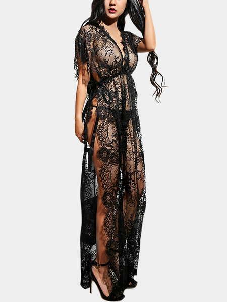 Black Sexy Slit Design See-through Lace Robe with T-back