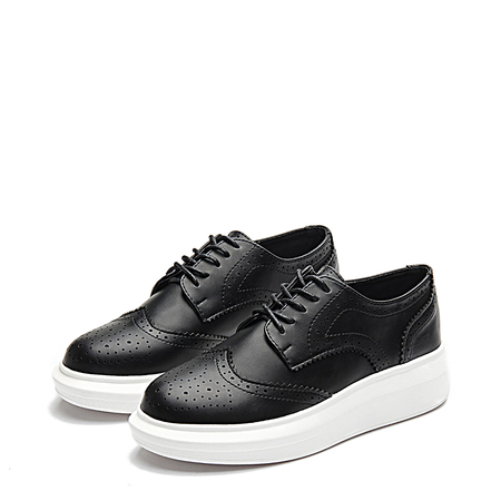 Black Round Toe Carving Lace-up Paltform Sneakers