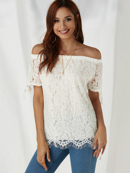 White Lace Off Shoulder Self-tie Design Blouse