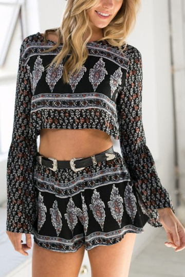 Fashion Flared Sleeves Cropped Top & Short Co-ord In Vintage Pattern
