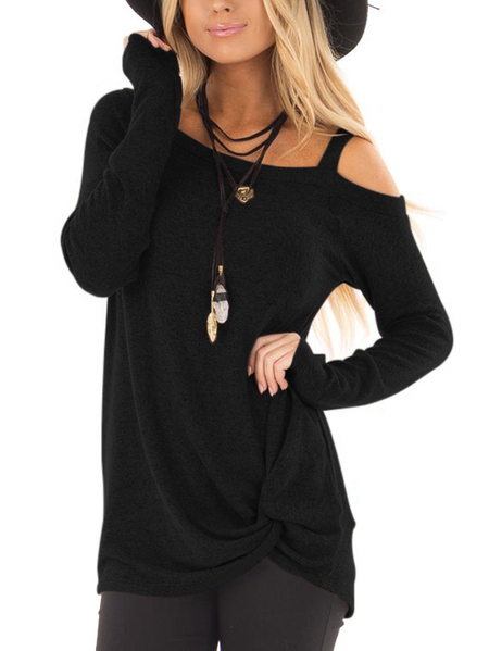 Black Crossed Front Design Plain One Shoulder Long Sleeves T-shirts