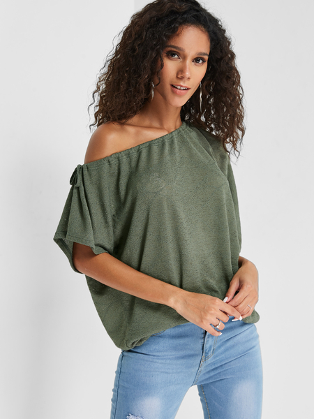 Yoins Army Green One Shoulder Short Sleeves Top