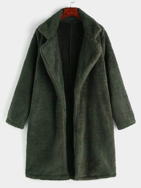 Army Green Lapel Collar Long Sleeves Faux Fur Coat