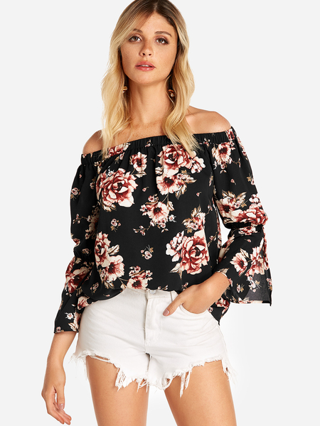 Black Slit Design Floral Print Off The Shoulder Bell Sleeves Blouses