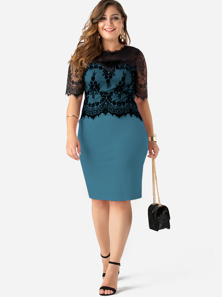 Plus Size Green Lace Splicing Chimney Collar Half Sleeves Dress