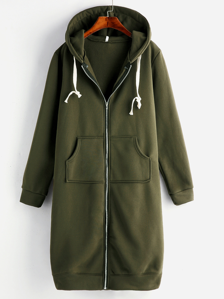Plus Size Army Green Hooded Pocket Long Coat