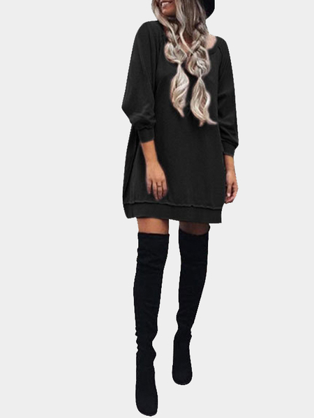 Black Casual Loose Round Neck Sweatshirt Dress