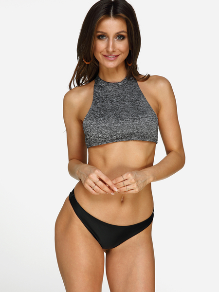 Grey Sexy Halter Neck Low-waisted Bikini Set