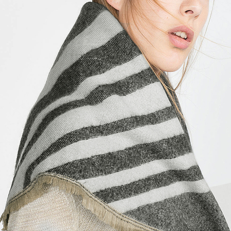 Beige Wrap Scarf in Stripe Pattern