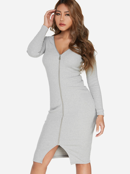 Grey Zip Design Plain V-neck Long Sleeves Dresses