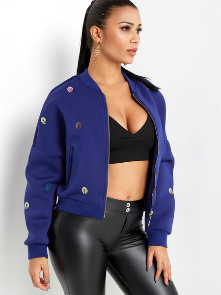 Royal Blue Fashion Embroidery Pattern Zipper Front Fastening Jacket