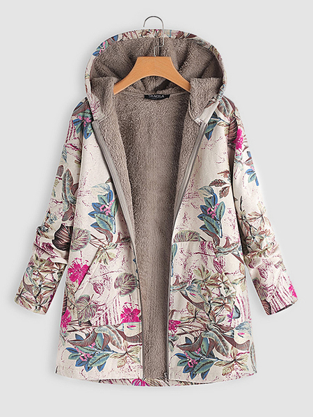 Rose Random Floral Print Hooded Design Long Sleeves Plush Lining Coat