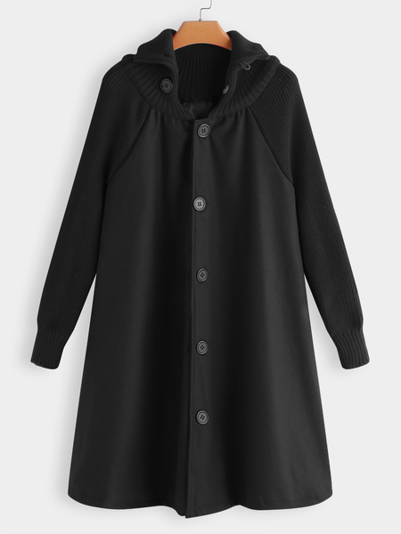Black Roll Neck Button-down Cable Ribbed Knitted Cape Trech Coat