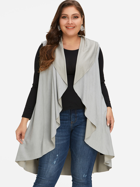 Plus Size Grey Waterfall Suede Vest