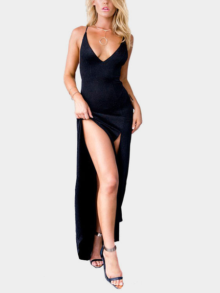 Black Low Cut V-neck Front Splits Maxi Dress