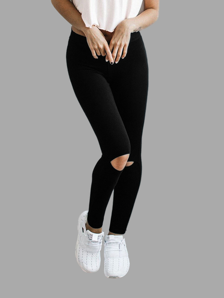 Black Fashion Cut Out Yoga Leggings