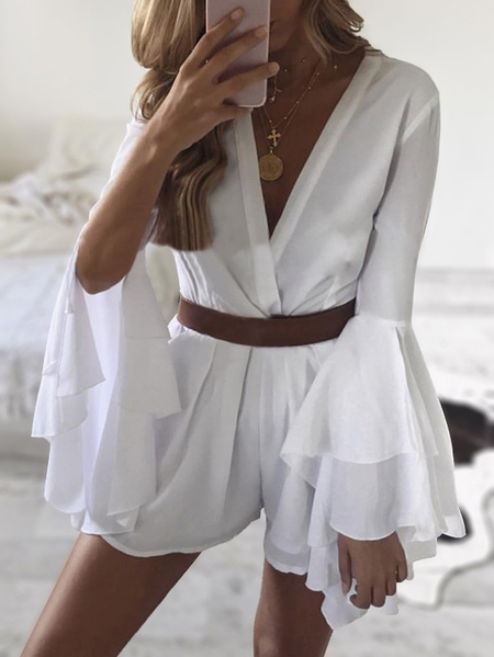 White Deep V-neck Bell Sleeves Playsuit