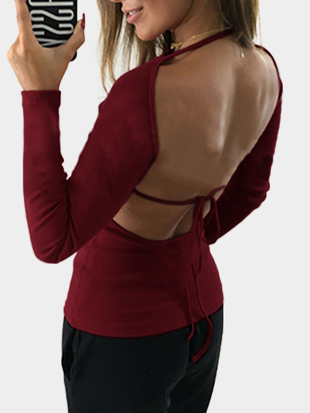 Burgundy Plain Backless Design Long Sleeves T-shirt