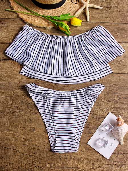 Stripe pattern Sexy Off Shoulder Tiered Swimwear