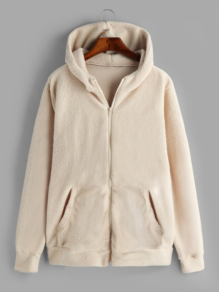Plus Size Apricot Pocket Hooded Faux Fur Coat