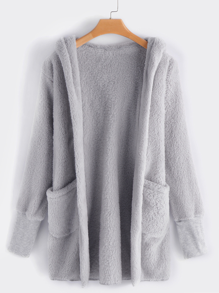 Light Grey Open Front Hooded Design Coat With Slip Pockets