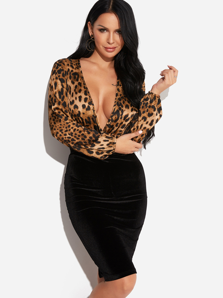 Leopard V-neck Long Sleeves Bodysuit