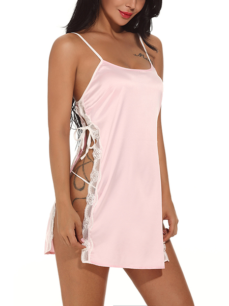 Pink Tie-up Slit Side Square Neck Lace Trim Pajamas with T-Thong