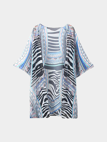 Abstract Print Sleeved Kimono