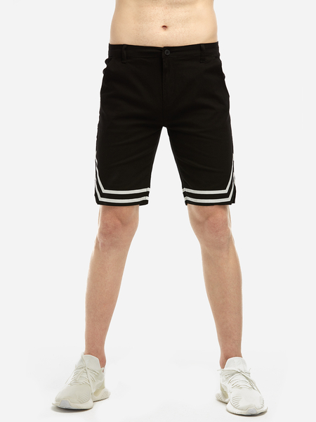 Black Fashion Style Split Side Middle Waist Men's Casual Shorts