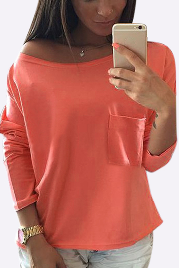 Red One Shoulder Chest Pockets T-shirt