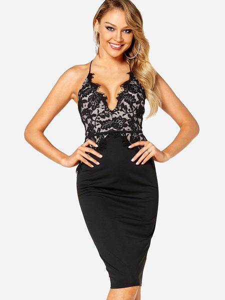 Black Lace Insert Cut Out Halter Sleeveless Bodycon Dress