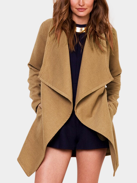 Beige Bownot Side Pockets Long Sleeves Trench Coat