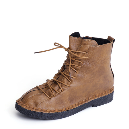 Yoins Brown Lace-up Design Round Toe Martin Boots