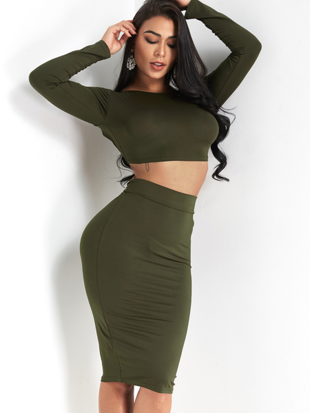 Army Green Lace-up Design Backless Co-ord